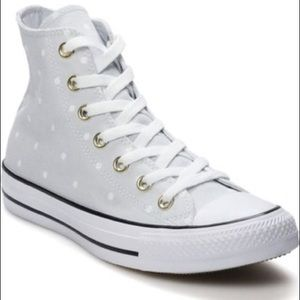 Converse grey white polka dot high top sneakers